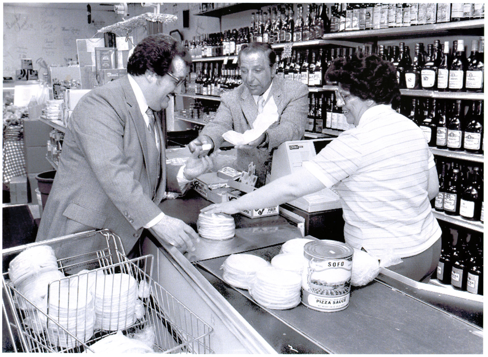 Joe Sofo and his sister Connie serving a customer